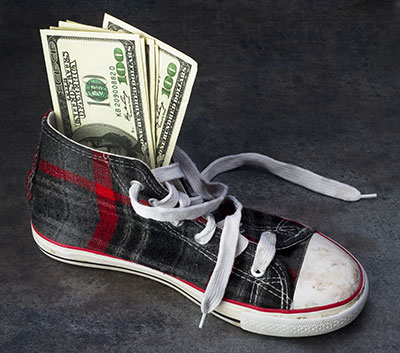 Most families have 10 pairs of shoes to contribute, which become fundraising dollars